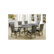 Parvin Oval Dining or Gaming Table, 6 Chairs in Champagne Wood