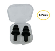 6 Pairs Silicone Swimming Earplugs - Soft and Flexible Ear Plugs for Swimming, Sleeping, Surfing, Showering, Building and Construction Work - Including Cases for Each Pair