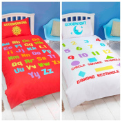 Bedding Heaven ALPHABET, NUMBERS Red White Duvet Cover - Fully Reversible - Cot Bed, Junior, Toddler Bed Size