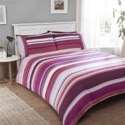 STRIPED PURPLE 100% BRUSHED COTTON SINGLE DUVET COVER