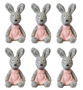 RABBITS Easter Bunnies Cake Toppers x6