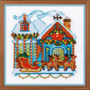 RIOLIS 1661 House with Sleigh Cross Stitch Kit, Cotton, multicolour, 15 x 0 cm
