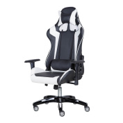Gaming Chair, Ergonomic High-Back Racing Chair Premium PU Leather Bucket Desk Chair With Headrest and Lumbar Massage Support, White