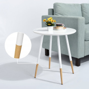 White Finish Mid-Century Style Round Side End Table with Wood Legs