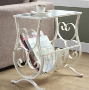Magazine Holder End Table White Iron Metal Tempered Glass Top