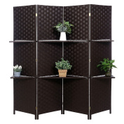 Decorative Hand Woven Bamboo 4-Panel Room Divider with 2 Tier Removable Display Shelves, Black