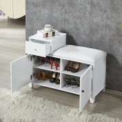 Organizedlife White Shoe Bench Cabinet with Cushion,Double Doors and Drawer Wooden Entryway