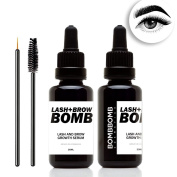 Lash + Brow Growth Serum - Eyelash Growth Enhancer & Brow Serum with Biotin for Long, Luscious Lashes and Eyebrows by BombBomb Cosmetics