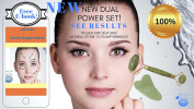 NEW! POWER SET Dual Jade Roller and GUA SHA SET for Eye, face and neck Face Slimmer Tightening, Real Jade Roller Massager 100% pure Jade Chinese Chi Roller, ANTI-ageing ANTI-WRINKLE . let!