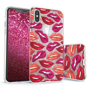 iPhone X Glitter Case, True Colour Sparkase Sparkly Glittering Lips Print Three-Layer Hybrid Girly Case with Shockproof TPU Outer Cover on Rose Gold Glitter