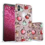 iPhone X Glitter Case, True Colour Sparkase Sparkly Glittering Perfume Print Three-Layer Hybrid Girly Case with Shockproof TPU Outer Cover on Rose Gold Glitter