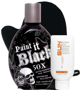 Millennium Tanning Paint It Black 50X,400ml | Strictly Faces Medium Self Tanner (lvl 2) 80ml + Tanning Mitt by Sun Laboratories - Body and Face