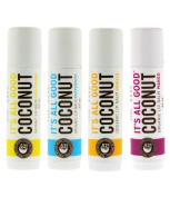 It's All Good Coconut Organic Lip Balm- Pina Colada, Peppermint, Vanilla & Mango- 4 Tubes