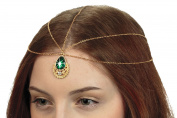 Hair Jewellery, Teardrop Forehead Pendant Headpiece with Faux Emerald