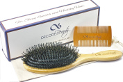 Decode Beauty Boar Bristle Hair Brush Set - Natural Bamboo Handle - Large Oval Paddle - For Women Men and Kids - Wild Boar-Bristle Mixed with Nylon Pins - Detangles and Adds Shine to All Hair Types