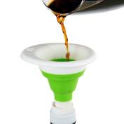 CWAIXX Home convenient telescopic funnel Green plastic funnel Hip flask bottle funnel Kitchen drain