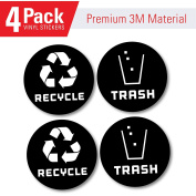 Recycle and trash bin logo stickers (4 Pack BLACK) 10cm x 10cm - Organise trash - For metal or plastic garbage cans, containers and bins - indoor & outdoor - Home, kitchen, or office - Premium decal
