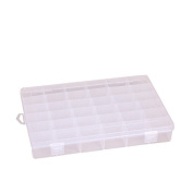 Richohome Clear Plastic Jewellery Box Organiser Storage Container with Adjustable Dividers 18 Grids, Pack of 2