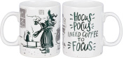 """Primitives by Kathy Coffee Mug, """"HOCUS POCUS I NEED COFFEE TO FOCUS"""" -- White Stoneware Cup with Witch and Cat Illustration - Large 590ml Capacity to Hold Your Morning """"Brew"""""""