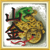 Joy Sunday Cross Stitch Kit 11CT Stamped Embroidery Kits Precise Printed Needlework Feng Shui Wall Hanging- Vein gold 35×35CM