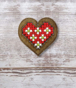Heart Plywood Christmas Ornament Cross Stitch Kit
