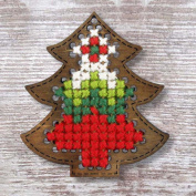 Tree Plywood Christmas Ornament Cross Stitch Kit