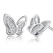 Ashley Jewellery 925 Sterling Silver Rhodium Plated Butterfly Cubic Zirconia Baby Girls Earrings