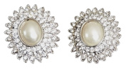 Crystal and Pearl Oval Stud Earring With Silver Setting