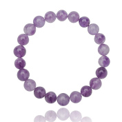 Unique healing Amethyst bracelet with 8mm AAA Grade pearls One Size Fits All with elastic band 16cm to 21cm