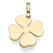Pendant clover leaf lucky sign gold 17x14 mm Made of 585 Yellow Gold Ribbon Necklace