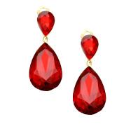 Ant Hony Fine Long Clip On Earrings Teardrop Shape Crystal Red 4.5 cm Long