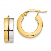 Leslie's 14k Two-tone Gold Polished Hoop Earrings LE1684