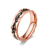 JAJAFOOK Unisex's Fashion Rose Gold Plated Stainless Steel Wide 5mm Ring