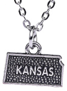 Hip Hop Jewellery Vintage American Map American Bison Kansas State Map Charm Necklace for Gifts