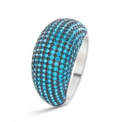 Ring LUXENTER SILVER Zirconia Blue q20150314. Size 14.