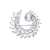 Woman Brooch White Pearl and Crystal Element CRY E522 J - Blue Pearls
