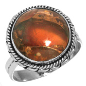 Natural Copper Carnelian Gemstone Stylish Jewellery Solid 925 Sterling Silver Ring Size R
