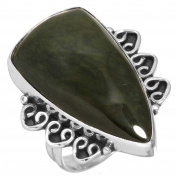 Solid 925 Sterling Silver Ring Natural Mexican Velvet Obsidian Gemstone Handcrafted Jewellery Size O