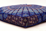 Blue Large Cushion Covers Mandala Floor Cushion Cover Hippie Pouffe Cover Mandala Square Floor Cushion Cover Elephant Cushion Cover Big Seating Cushion Cover Ottoman Pouffe Meditation Cushion Cover
