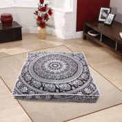 Black and White Pouffe Cover Mandala Square Pouffe Cover Hippie Elephant Floor Cushion Covers Bohemian Hippy Seat Cover Big Ottoman Pouffe Meditation Cushion Cover 90cm x 90cm Large Pillow Covers By DARJII