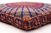Boho Pouffe Cover Hippie Large Cushion Covers Orange Mandala Floor Cushion Cover Hippie Pouffe Cover Mandala Elephant Cushion Cover Seating Cushion Cover Bohemian Ottoman Pouffe Meditation Cushion Cover