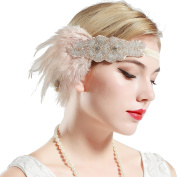 BABEYOND 1920s Flapper Headband 20s Great Gatsby Headpiece Bridal Feather Headband 1920s Flapper Gatsby Accessories with Crystal