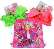 JoJo Siwa 2 Large Neon Signature Bows with Travel Drawstring Sling Bag Set