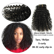 Ms Fenda Brazilian Remy Virgin Hair Kinky Curly Natural Colour African American Clip In Hair Extensions 120Gram 7Pcs/Set