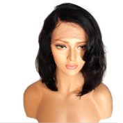 AMA(TM) Glueless Short Bob Lace Front Brazilian Virgin Human Hair Wigs With Baby Hair Short Wave High Density Natural For Black Women