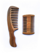 Handmade Natural Green Sandalwood Comb Wide Tooth Comb - Dual Action Beard Comb with Aromatic Scent for Long and Short Beards Perfect Moustache Comb