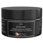 Teeth Whitening Activated Coconut Charcoal Powder by Anjou, Natural Tooth Stain Remover, Non Abrasive, Vegan, 4 fl.oz / 120ml, Mint Flavoured