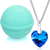 Tranquil Serenity Bath Bomb with Necklace Created with Crystal Extra Large 300ml Made in USA