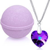 Enliven Me Lavender Bath Bomb with Necklace Created with Crystal Extra Large 300ml Made in USA