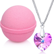 Love Potion Bath Bomb with Necklace Created with Crystal Extra Large 300ml Made in USA